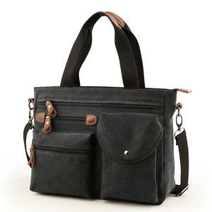 Men Canvas Multi-functional Briefcase Business Handbag Dual-purpose Notebook Male Hand pack Bag Satchel N0604 Q1129