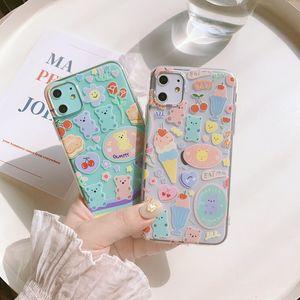 Cute rainbow gummy bear Cherry Ice cream Phone case for iPhone 12 11 Pro MAX Xs max XR 7 8 Plus 12 mini 7Plus Case Silicon cover