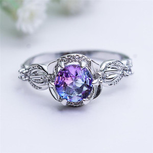 Classic Six Prong Round Blue Purple Crystal Zircon Rings For Women Antique Silver Color Jewelry Female Luxury Rainbow Stone Ring