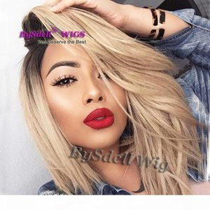 Short Black Root Ombre Premium Natural Blond Color Hair Front Lace Wig Soft Heat Resistant Hair Lace Front Wigs for Black White Women