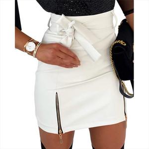 Women Fashion High Waist Skirt Sexy Zip Faux Leather Short Pencil Bodycon Mini Skirt Fashion Women Slim PU Leather Bow