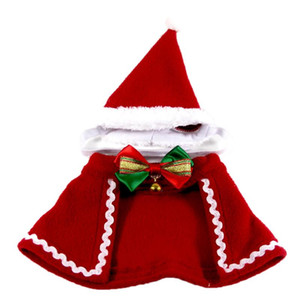 Happy Christmas Pet Cape Cute Bowknot Bell New Fashion Pet Cloak Costume With Santa Hat Clothing Supplies For Party