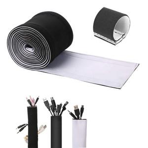 Sleeve de câble en néoprène flexible Couvercle d'enveloppe Organiseur Crochet et boucle Câble Gestion Sleeve Pour TV Stereo 58 * 3.9 pouces