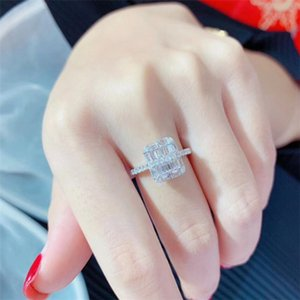 2020 Top Sell High Quality Brand New Luxury Jewelry 925 Sterling Silver Full Princess Cut White Topaz Diamond Gemstones Women Wedding Ring
