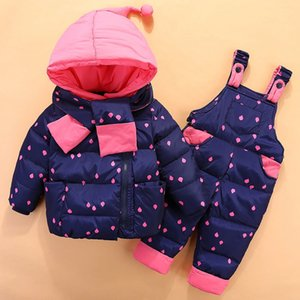 Winter Warm Overalls For Newborns Baby Girl Children's Clothing Set Outerwear Child Girls Suit Jackets+Pant High Quality Y1117