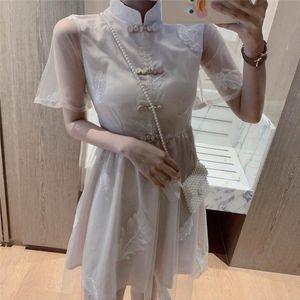 Vintage plus size chinese qipao style dress for women 2019 summer sexy Chiffon sleeveless formal cheongsam qi pao modern