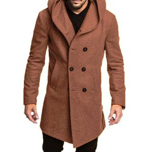 Men Fashion Woolen Coat Hooded A Line Double-Breasted Casual Business Windbreaker Oversized Outwear Spring New Overcoat African
