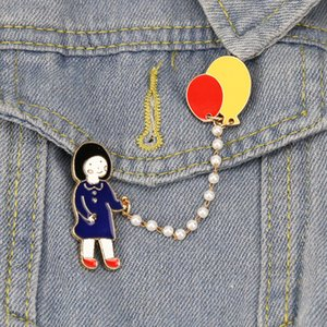 Cartoon Little Girl Walking The Dog Brooch Pins Funny Japan Literature Alloy Enamel Brooches for Girl Christmas Gift Badges Bag Shirt Pin