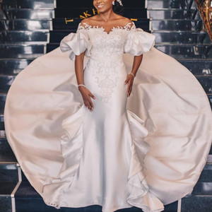 Vintage Satin Mermaid Wedding Dresses Sheer Neck Short Sleeve Long Train Applique Pearls Beads Court House Garden Bridal Marriage Gowns