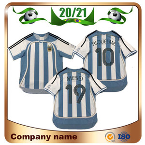 2006 Retro version Argentina Soccer Jersey 06 07 world cup #19 MESSI #10 RIQUELME Soccer shirt #9 CRESPO football uniform