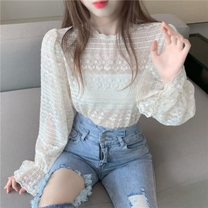 Embroidered Flower lace blouse Tops Sexy Flare sleeve Perspective shirt blouse all-match Autumn Sweet Women clothes