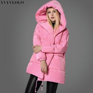 Yvyvlolo Women's Women Pink Girl abrigo 2021 Nueva moda linda linda parkas con capucha con capucha de botón de botón de mujer