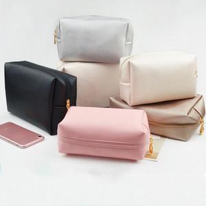 Q borse in pelle PU color puro colore coreano stile portatile viaggio sacchetto cosmetico grande capacità di stoccaggio organizzatore borse da bagno