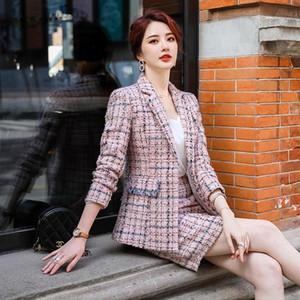 Femmes S 2 pièces Jupe Set Tissu À Manches longues Entreprise Suit Styles Formel Automne Hiver Femmes Office Offre Porter des blazers professionnels