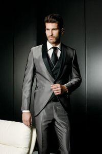 2020 Latest Designs Gray Satin Groom Tuxedo Black Shawl Lapel Blazer Slim Fit Mens Wedding Prom Dress Suits(Jacket+Pants+Vest)
