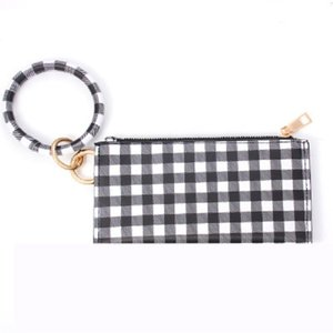 Black white squares PU leather tassel Bracelet double layer women keychain wallet card bag mobile phone bag Clutch Wallet designer handbags