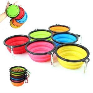 Cuencos de alimentación para perros Tazones de alimentación de plato de agua para mascotas Cuenco plegable portátil con gancho plegable plegable Cuenco ligero expandible Feserders GGB3365