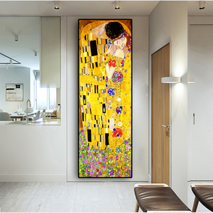 Classic Artist Gustav Klimt kiss Abstract Oil Painting on Canvas Print Poster Modern Art Wall Pictures For Living Room Cuadros Z1202