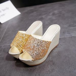 Hot New Chinese Brand Designer Slides Socialite High Heel Sandals Women Glitter High Heel Shoes PU Leather Designer Shoes Platform Slipper