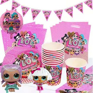 LOL surprise doll children cartoon paper cup paper plate tablecloth straw balloon birthday party decoration tableware set