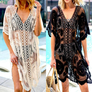 Women Lace Crochet Bikini Cover Up Swimwear Bathing Suit Summer Beach Mini Dress Batwing Sleeve V Neck Hollow Floral Swimsuit