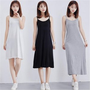 2019 Womens fashion cheap Modal Full Slip Dress Spaghetti strap Vest 90 to 120cm Long Under dress Ladies Casual Dresses