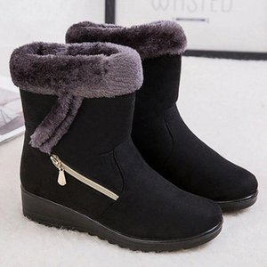 2020 Winter Women Ankle Boots Warm Plush Snow Boots Non-slip Women's Winter Casual Women Shoes Zapatos Mujer Plus Size 43 #aE3E