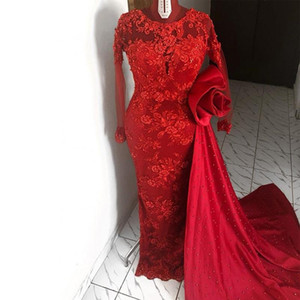 Red Mermiad Evening Dresses with Removeable Train O Neck Long Sleeve Lace Appliques Pearls Prom Gowns Formal Wear