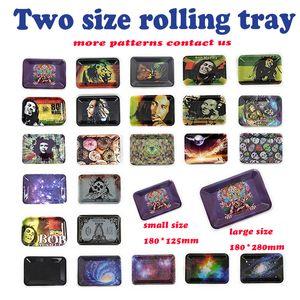 Plateaux de roulement en métal Bob Marley Plateau 188 * 125mm 285 * 185mm pour les tuyaux fumeurs Mélanger la feuille de motif