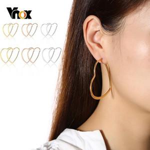 VNOX Basic Heart Shaped Hoop Ohrringe für Frauen Glänzend Edelstahl Weibliche Dame Party Tägliche Tragen Ohr Schmuck1