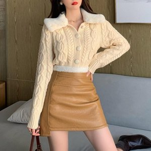 High Street Korean Fashion Sweater Popular Thin Simple Winter Autumn Hot Sale Retro Lambswool Splicing Long Sleeve Cardigan