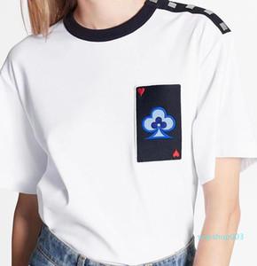 21ss Women Designer Comfort Tee T-shirt New Spring Poker Printing T-shirt Fashion Men Women Cool Tee Black White Oversized S M L XL