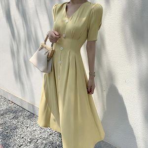 Vintage Satin Long Dress For Women Summer V neck Button Slim Female Dress Party Evening Solid Casual Elegant Ladies Midi