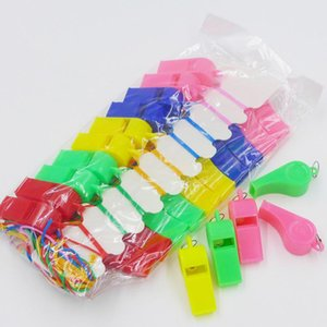Foreign Trade Hot Sale Color Plastic Whistle Children's Toys Fans Match Referee Whistle Lanyard Jewelry Color Random