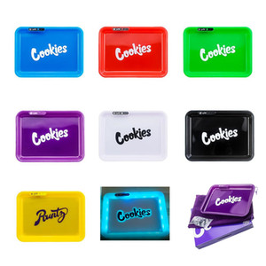 Cookies Glow Tray Runtz LED Light Rechargeable Rolling Cigarette Tray Auto Party Mode Metal Glowtray Quick Charge With Packaging Box
