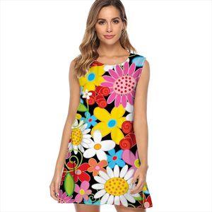 Women Loose Dress 2019 Vintage Camera Flowers Power Garden Boho Beach Dress Vestidos Sleeveless O Neck Summer Mini Chiffon