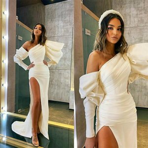 White Sexy High-split Mermaid Formal Prom Dresses One-shoulder Poet Long Sleeve Ruched Satin Evening Dress Sweep Train Party Gown Hot Sale