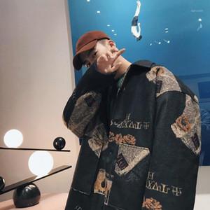 2019 uyuk kış kalınlaşmış ve pamuk yaka mizaç eğilim retro japonca baskı termal yün palto erkek hombre1