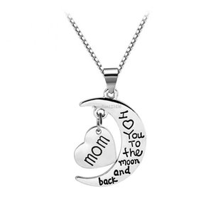I Love You To The Moon And Back Necklace Heart love Mom Dad Grandma Grandpa Son Daughter pendant Fashion Jewelry Will and Sandy gift
