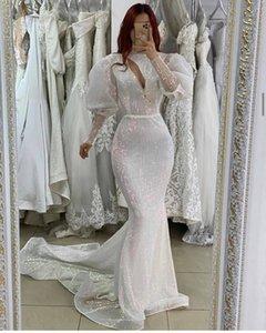 Modest White Mermaid Evening Dresses Women Party Night Keyhole Neck Prom Dress Puffy Full Sleeve Graduation Gowns Robes De Soirée