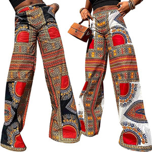 2020 New Fashion Women's Boho Loose Straight Pants Female Casual High Waist Wide Leg Lounge Trousers with Pockets