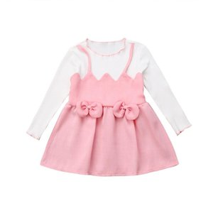 Cute Toddler Girls Dress Kids Girls Dress Pink Bow Knot O Neck Long Sleeve Mini Dresses Princess Party Dresses Baby Clothes