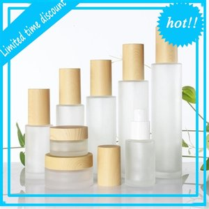 Frosted Glass Cream with Imitated Wood Lid Lotion Spray Pump Bottle Portable Cosmetic Container Jar 30ml 40ml 50ml 60ml 80ml