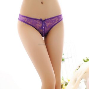 Sexy Transparent diamond Lace Panties Thongs Bow knot woman underwears Briefs Bikni Knickers G String t back Women Clothes will and sandy