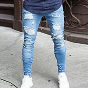 2021 New Fashion Streetwear Mens Jeans Destroyed Ripped Design Pencil Pants Ankle Skinny Men Full Length Jeans