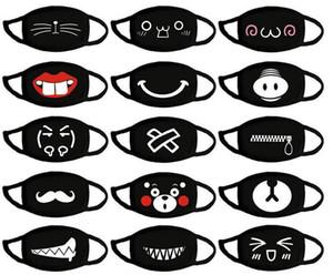 Cotton Face Masks Black Fashion Mouth Masks Earloops Breathable Cute Cartoon Cloth Masks Anti Dust Mascherine F