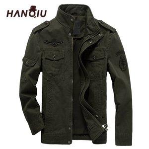 Hanqiu Brand M- Bomber Chaqueta Hombres Ropa militar 2020 Primavera Abrigo masculino Abrigo Masculino Sólido Jacket Military LJ201013
