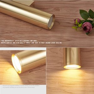 Wall Light Mirror Gold Tube Design lights Plating Aluminium Cover LED Sconce Light Hallway Coffee Shop Indoor Up and Down