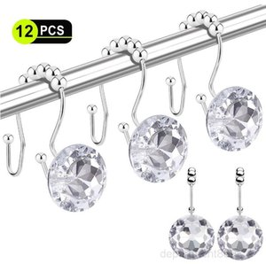 Hooks 12 Pcs Double Glide Shower Curtain Rings Stainless Steel Rustproof Hook Ring with Acrylic Crystal Rhinestones OWD205