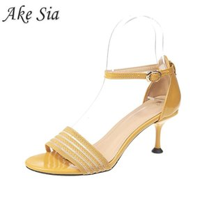 2020strap womens shoes heels fashion color matching one-strap buckle fine suede female sexy high heels open toe Pointed Toe